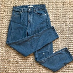 Zara Woman Premium Denim High Waisted Rip Mom Jean